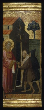 Lorenzo di Niccolò (Italian, Florentine, documented 1393-1412). <em>Saint Lawrence Distributing Alms to the Poor</em>, ca. 1412. Tempera and tooled gold on poplar panel, Uneven: 15 1/16 x 6 13/16 in. (38.3 x 17.3 cm). Brooklyn Museum, Gift of A. Augustus Healy, 03.76 (Photo: Brooklyn Museum, 03.76_SL1.jpg)