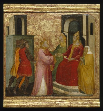 Lorenzo di Niccolò (Italian, Florentine, documented 1393-1412). <em>Saint Lawrence Arraigned Before the Prefect Valerianus</em>, ca. 1412. Tempera and tooled gold on poplar panel, 13 9/16 x 15 1/16 in. (34.4 x 38.3 cm). Brooklyn Museum, Gift of A. Augustus Healy, 03.77 (Photo: Brooklyn Museum, 03.77_SL1.jpg)