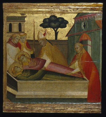 Lorenzo di Niccolò (Italian, Florentine, documented 1393-1412). <em>Saint Lawrence Buried in Saint Stephen's Tomb</em>, ca. 1412. Tempera and tooled gold on poplar panel, 13 x 14 3/16 in. (33 x 36 cm). Brooklyn Museum, Gift of A. Augustus Healy, 03.79 (Photo: Brooklyn Museum, 03.79_SL1.jpg)