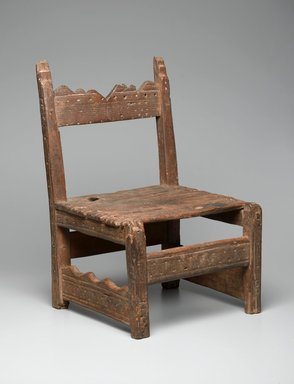 She-we-na (Zuni Pueblo). <em>Chair (tsem-pai-yau-nai)</em>, ca. 1850. Wood, stain, iron nails, 22 1/2 x 14 1/2 x 13 1/4in. (57.2 x 36.8 x 33.7cm). Brooklyn Museum, Museum Expedition 1904, Museum Collection Fund, 04.297.5130. Creative Commons-BY (Photo: Brooklyn Museum, 04.297.5130_threequarter_right_PS2.jpg)