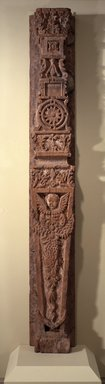 Attributed to Bernardo Miera y Pacheco. <em>Carved Pilaster from Our Lady of Guadalupe</em>, 1701-1800. Wood, gesso, pigments, 103 1/2 x 14 in. (256.5 x 36.0 cm). Brooklyn Museum, Museum Expedition 1904, Museum Collection Fund, 04.297.5143. Creative Commons-BY (Photo: Brooklyn Museum, 04.297.5143.jpg)