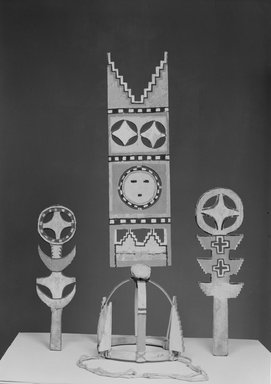 She-we-na (Zuni Pueblo). <em>Headdress for the Blue Corn Dance</em>. Wood, paint, cord, 26 3/4 x 7 1/16 x 7 1/16 in. (68 x 18 x 18 cm). Brooklyn Museum, Museum Expedition 1904, Museum Collection Fund, 04.297.5204. Creative Commons-BY (Photo: Brooklyn Museum, 04.297.5204_acetate_bw.jpg)