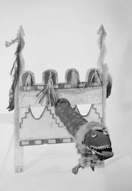 She-we-na (Zuni Pueblo). <em>Kolowisi Water Serpent Puppet</em>, 19th century. Wood, cloth, hair, fur, pigment, hide, feathers, gourd Brooklyn Museum, Museum Expedition 1904, Museum Collection Fund, 04.297.5211. Creative Commons-BY (Photo: Brooklyn Museum, 04.297.5211_acetate_bw.jpg)