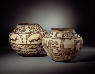 She-we-na (Zuni Pueblo). <em>Water Jar (Tai-lai)</em>, 1868-1933. Ceramic, pigment, 12 1/4 x 15 in. (31.0 x 38.0 cm). Brooklyn Museum, Museum Expedition 1904, Museum Collection Fund, 04.297.5249. Creative Commons-BY (Photo: , 04.297.5248_04.297.5249_SL3.jpg)