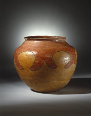 She-we-na (Zuni Pueblo). <em>Jar Drum (Tai-pai-hau-nai) used When Girls Grind Corn</em>, 19th century. Clay, slip, 15 x 17 x 17 in. (38.1 x 43.2 x 43.2 cm). Brooklyn Museum, Museum Expedition 1904, Museum Collection Fund, 04.297.5279. Creative Commons-BY (Photo: Brooklyn Museum, 04.297.5279_SL1.jpg)
