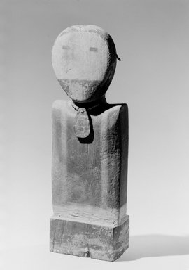 She-we-na (Zuni Pueblo). <em>Image with Small Bird (Payatamu, God of Music, Flowers and Butterflies)</em>, late 18th century. Wood, beads, abalone shell, pigment, string, 14 in. (35.6 cm). Brooklyn Museum, Museum Expedition 1904, Museum Collection Fund, 04.297.5317. Creative Commons-BY (Photo: Brooklyn Museum, 04.297.5317_acetate_bw.jpg)