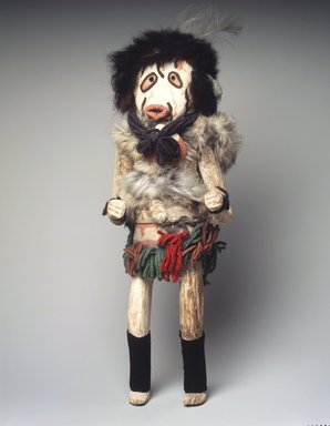 Mau-i (She-we-na (Zuni Pueblo)). <em>Kachina Doll (Asitasha)</em>, late 19th early 20th century. Cloth, buffalo fur, feathers, wood, pigment, wool yarn, 16 1/2 x 4 1/2 x 5 1/2 in. (41.9 x 11.4 x 14 cm). Brooklyn Museum, Museum Expedition 1904, Museum Collection Fund, 04.297.5328. Creative Commons-BY (Photo: Brooklyn Museum, 04.297.5328_transp6230.jpg)
