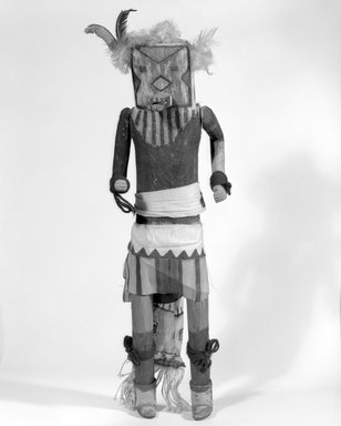 Mau-i (She-we-na (Zuni Pueblo)). <em>Kachina Doll (Matoya)</em>, late 19th-early 20th century. Wood, pigment, cotton, hide, 17 11/16 x 4 9/16 x 4 1/16in. (45 x 11.6 x 10.3cm). Brooklyn Museum, Museum Expedition 1904, Museum Collection Fund, 04.297.5346. Creative Commons-BY (Photo: Brooklyn Museum, 04.297.5346_bw.jpg)