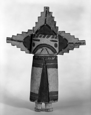 Hopi Pueblo. <em>Kachina Doll (Palhikmana) or Stick</em>, late 19th century. Wood, pigment, 32 5/8 x 1 7/8 in. (82.9 x 4.8 cm). Brooklyn Museum, Museum Expedition 1904, Museum Collection Fund, 04.297.5531. Creative Commons-BY (Photo: Brooklyn Museum, 04.297.5531_bw.jpg)