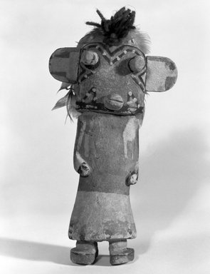 Hopi Pueblo. <em>Kachina Doll</em>, late 19th century. Wood, pigment, yarn, feathers, 4 15/16 x 2 9/16 x 8 9/16in. (12.5 x 6.5 x 21.8cm). Brooklyn Museum, Museum Expedition 1904, Museum Collection Fund, 04.297.5533. Creative Commons-BY (Photo: Brooklyn Museum, 04.297.5533_bw.jpg)