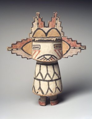 Hopi Pueblo. <em>Kachina Doll (Sa'lakwmana)</em>, late 19th century. Wood, pigment, 9 x 7 1/2 x 3 1/2 in. (22.9 x 19.1 x 8.9 cm). Brooklyn Museum, Museum Expedition 1904, Museum Collection Fund, 04.297.5543. Creative Commons-BY (Photo: Brooklyn Museum, 04.297.5543_transp6238.jpg)