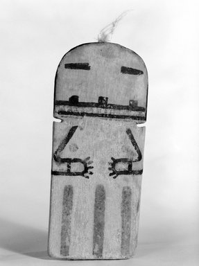 Hopi Pueblo. <em>Kachina Doll (Takushmana)</em>, late 19th century. Wood, pigment, feather, 2 3/16 x 11/16 x 5 1/4in. (5.6 x 1.8 x 13.3cm). Brooklyn Museum, Museum Expedition 1904, Museum Collection Fund, 04.297.5548. Creative Commons-BY (Photo: Brooklyn Museum, 04.297.5548_view1_bw.jpg)