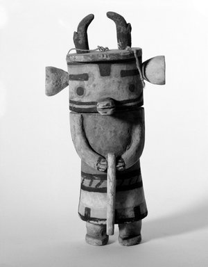 Hopi Pueblo. <em>Ysivkatsina [Antelope] Kachina Doll</em>, late 19th century. Wood, pigment, string, 11 x 5 5/8 x 3 in. (27.9 x 14.3 x 7.6 cm). Brooklyn Museum, Museum Expedition 1904, Museum Collection Fund, 04.297.5566. Creative Commons-BY (Photo: Brooklyn Museum, 04.297.5566_bw.jpg)
