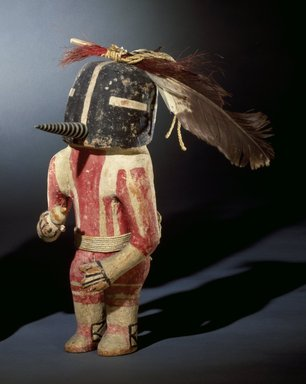 Hopi Pueblo. <em>Kachina Doll (Kokopol)</em>, late 19th century (probably). Wood, pigment, cotton, wool, hide, feathers, horsehair, 13 x 5 3/4 in. (33 x 14.6 cm). Brooklyn Museum, Museum Expedition 1904, Museum Collection Fund, 04.297.5575. Creative Commons-BY (Photo: Brooklyn Museum, 04.297.5575_cropped_SL3.jpg)