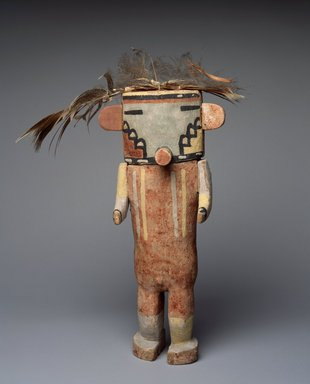 Hopi Pueblo. <em>Kachina Doll (Poos'hum)</em>, late 19th century. Wood, pigment, feathers, fiber, string, 11 1/2 x 9 x 2 1/2 in. (29.2 x 22.9 x 6.4 cm). Brooklyn Museum, Museum Expedition 1904, Museum Collection Fund, 04.297.5604. Creative Commons-BY (Photo: Brooklyn Museum, 04.297.5604_SL3.jpg)