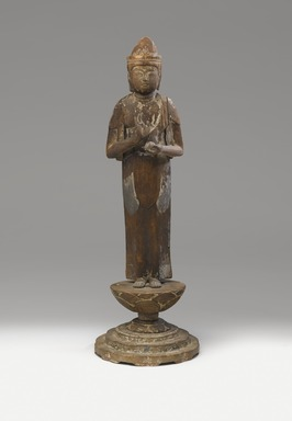 <em>Small Figure of the Bodhisattva Sho Kannon (Avalokiteshvara)</em>, ca. 1100. Wood, gesso, and paint, 19 x 6 1/4 in. (48.3 x 15.9 cm). Brooklyn Museum, Brooklyn Museum Collection, 05.104. Creative Commons-BY (Photo: Brooklyn Museum, 05.104_front_PS9.jpg)