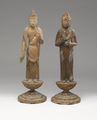 <em>Small Figure of the Bodhisattva Sho Kannon (Avalokiteshvara)</em>, ca. 1100. Wood, gesso, and paint, 19 1/4 x 6 1/8 in. (48.9 x 15.5 cm). Brooklyn Museum, Brooklyn Museum Collection, 05.106. Creative Commons-BY (Photo: , 05.106_05.104_PS9.jpg)