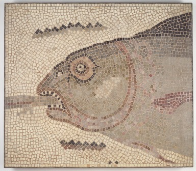 Roman. <em>Mosaic of Fish's Head Facing Left</em>, 6th century C.E. Stone and mortar, 1 5/16 x 31 15/16 x 32 1/16 in. (3.3 x 81.2 x 81.4 cm). Brooklyn Museum, Museum Collection Fund, 05.15. Creative Commons-BY (Photo: Brooklyn Museum, 05.15.jpg)