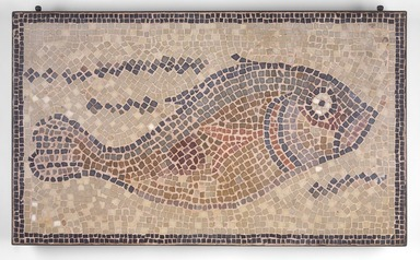 Roman. <em>Mosaic of Fish Facing Right</em>, 6th century C.E. Stone and mortar, 1 5/8 x 31 3/4 x 18 11/16 in. (4.1 x 80.6 x 47.5 cm). Brooklyn Museum, Museum Collection Fund, 05.16. Creative Commons-BY (Photo: Brooklyn Museum, 05.16.jpg)