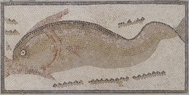 Roman. <em>Mosaic of Dolphin Facing Left</em>, 6th century C.E. Stone and mortar, 1 3/4 x 53 x 26 3/8 in. (4.4 x 134.6 x 67 cm). Brooklyn Museum, Museum Collection Fund, 05.17. Creative Commons-BY (Photo: , 05.17_SL3.jpg)
