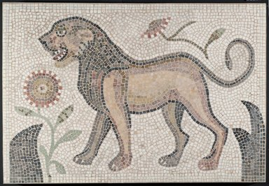 Roman. <em>Mosaic of Lion</em>, 6th century C.E. Stone and mortar, 1 5/8 x 42 1/4 x 29 5/16 in. (4.1 x 107.3 x 74.5 cm). Brooklyn Museum, Museum Collection Fund, 05.18. Creative Commons-BY (Photo: Brooklyn Museum, 05.18_PS2.jpg)