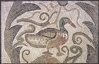 Roman. <em>Mosaic of Duck Facing Right</em>, 6th century C.E. Stone and mortar, 1 3/4 x 33 3/8 x 21 7/8 in. (4.4 x 84.8 x 55.6 cm). Brooklyn Museum, Museum Collection Fund, 05.19. Creative Commons-BY (Photo: Brooklyn Museum, 05.19.jpg)
