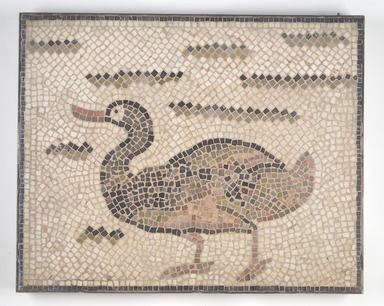 Roman. <em>Mosaic of Duck Facing Left</em>, 6th century C.E. Stone and mortar, 1 5/8 x 28 3/4 x 23 1/8 in. (4.1 x 73 x 58.7 cm). Brooklyn Museum, Museum Collection Fund, 05.20. Creative Commons-BY (Photo: Brooklyn Museum, 05.20.jpg)