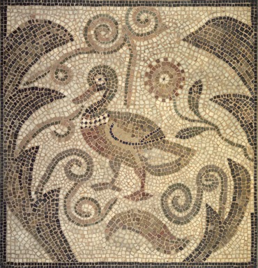 Roman. <em>Mosaic of Duck Facing Left in Vines</em>, 6th century C.E. Stone and mortar, 1 3/4 x 33 5/16 x 34 5/8 in. (4.4 x 84.6 x 87.9 cm). Brooklyn Museum, Museum Collection Fund, 05.21. Creative Commons-BY (Photo: Brooklyn Museum, 05.21.jpg)