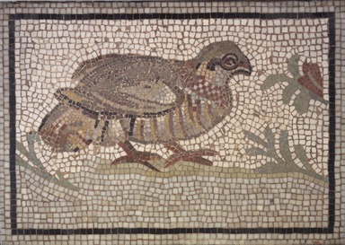 Roman. <em>Mosaic of Partridge</em>, 1st-2nd century C.E. Stone and mortar, 1 1/4 x 17 11/16 x 12 5/8 in. (3.2 x 44.9 x 32.1 cm). Brooklyn Museum, Museum Collection Fund, 05.22. Creative Commons-BY (Photo: Brooklyn Museum, 05.22.jpg)