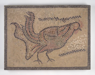 Roman. <em>Mosaic of Rooster</em>, 6th century C.E. Stone and mortar, 1 3/4 x 29 1/2 x 22 in. (4.4 x 74.9 x 55.9 cm). Brooklyn Museum, Museum Collection Fund, 05.23. Creative Commons-BY (Photo: Brooklyn Museum, 05.23.jpg)