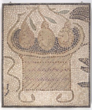 Roman. <em>Mosaic of Square Basket with Fruit</em>, 6th century C.E. Stone and mortar, 1 3/4 x 23 13/16 x 27 7/8 in. (4.4 x 60.5 x 70.8 cm). Brooklyn Museum, Museum Collection Fund, 05.24. Creative Commons-BY (Photo: Brooklyn Museum, 05.24.jpg)