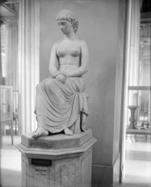 William Wetmore Story (American, 1819-1895). <em>Polyxena</em>, 1873. Marble, statue: 54 1/2 x 24 x 44 1/2 in., 1303 lb. (138.4 x 61 x 113 cm, 591.04kg). Brooklyn Museum, Gift of George Freifeld, 05.240. Creative Commons-BY (Photo: , 05.240_bw_SL4.jpg)