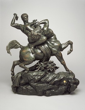 Antoine-Louis Barye (French, 1795-1875). <em>Theseus Slaying the Centaur</em>, model 1849. Bronze, 29 1/2 x 25 3/16 x 11 3/16 in. (74.9 x 64 x 28.4 cm). Brooklyn Museum, Gift of Fannie Avery Welcher, 05.242. Creative Commons-BY (Photo: Brooklyn Museum, 05.242.jpg)