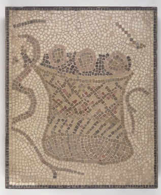 Roman. <em>Mosaic of Round Basket with Bread</em>, 6th century C.E. Stone and mortar, 1 3/4 x 23 1/4 x 27 9/16 in. (4.4 x 59 x 70 cm). Brooklyn Museum, Museum Collection Fund, 05.25. Creative Commons-BY (Photo: Brooklyn Museum, 05.25.jpg)