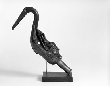Tlingit. <em>Oyster Catcher Rattle</em>, late 19th century. Wood, abalone shell, 9 x 13 x 5 in. (22.9 x 33 x 12.7 cm). Brooklyn Museum, Brooklyn Museum Collection, 05.273. Creative Commons-BY (Photo: Brooklyn Museum, 05.273_view1_bw.jpg)