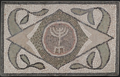 Roman. <em>Mosaic of Menorah</em>, 6th century C.E. Stone and mortar, 1 3/4 x 35 1/4 x 22 7/16 in. (4.4 x 89.5 x 57 cm). Brooklyn Museum, Museum Collection Fund, 05.27. Creative Commons-BY (Photo: Brooklyn Museum, 05.27_PS2.jpg)
