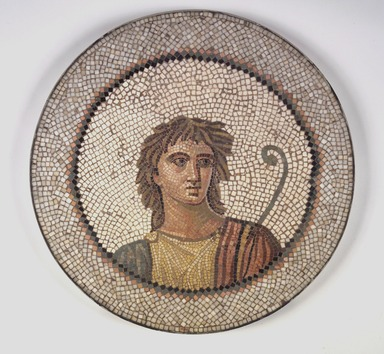 Roman. <em>Mosaic of Male Figure in Medallion</em>, 1st-2nd century C.E. Stone and mortar, 1 1/4 x 21 1/4 in. (3.2 x 54 cm). Brooklyn Museum, Museum Collection Fund, 05.28. Creative Commons-BY (Photo: Brooklyn Museum, 05.28.jpg)