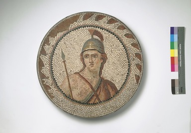 Roman. <em>Mosaic of Personification of Roma in a Medallion</em>, 1st-2nd century C.E. Stone and mortar, 1 1/4 x 21 1/4 in. (3.2 x 53.9 cm). Brooklyn Museum, Museum Collection Fund, 05.29. Creative Commons-BY (Photo: Brooklyn Museum, 05.29.jpg)