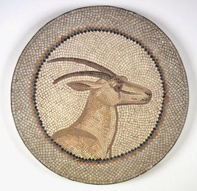 Roman. <em>Mosaic of a Gazelle in a Medallion</em>, 1st-2nd century C.E. Stone and mortar, 1 1/4 x 21 1/4 in. (3.2 x 54 cm). Brooklyn Museum, Museum Collection Fund, 05.30. Creative Commons-BY (Photo: Brooklyn Museum, 05.30.jpg)