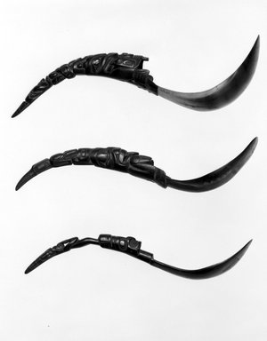 Haida. <em>Spoon with Carved Handle</em>, 19th century. Mountain goat horn, copper alloy rivets, 11 x 2 9/16 x 1 in.  (28 x 6.5 x 2.6 cm). Brooklyn Museum, Museum Expedition 1905, Museum Collection Fund, 05.304. Creative Commons-BY (Photo: Brooklyn Museum, 05.304_bw.jpg)