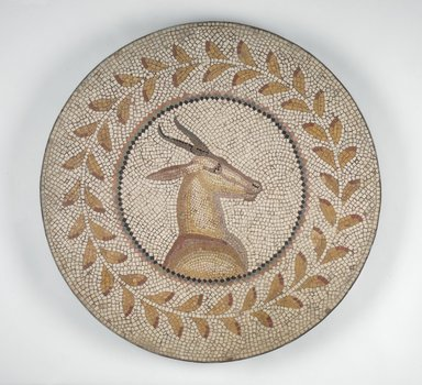 Roman. <em>Mosaic of a Gazelle in a Vine</em>, 1st-2nd century C.E. Stone and mortar, 1 3/8 x 28 1/16 in. (3.5 x 71.3 cm). Brooklyn Museum, Museum Collection Fund, 05.31. Creative Commons-BY (Photo: Brooklyn Museum, 05.31.jpg)