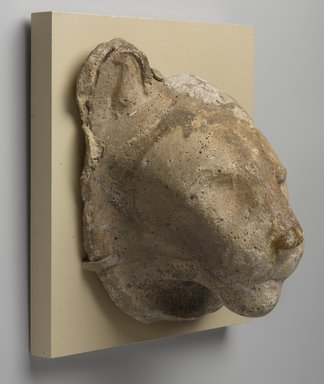 <em>Sculptor's Model Head of a Lion</em>, 332 B.C.E.-30 B.C.E. Plaster, 6 15/16 x 5 13/16 x 4 1/2 in. (17.7 x 14.8 x 11.5 cm). Brooklyn Museum, Charles Edwin Wilbour Fund, 05.311. Creative Commons-BY (Photo: Brooklyn Museum, 05.311_PS9.jpg)