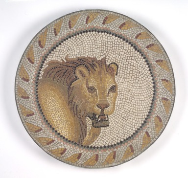 Roman. <em>Mosaic of a Lion in a Roundel</em>, 1st-2nd century C.E. Stone and mortar, 1 1/4 x 21 5/16 in. (3.2 x 54.1 cm). Brooklyn Museum, Museum Collection Fund, 05.32. Creative Commons-BY (Photo: Brooklyn Museum, 05.32.jpg)