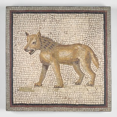 Roman. <em>Mosaic of a Hyena</em>, 19th century. Stone and mortar, 1 3/8 x 18 1/4 x 18 1/4 in. (3.5 x 46.3 x 46.4 cm). Brooklyn Museum, Museum Collection Fund, 05.33. Creative Commons-BY (Photo: Brooklyn Museum, 05.33.jpg)