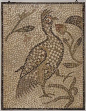 Roman. <em>Mosaic of a Bird in a Vine</em>, 6th century C.E. Stone and mortar, 1 3/4 x 21 5/8 x 28 1/16 in. (4.4 x 55 x 71.3 cm). Brooklyn Museum, Museum Collection Fund, 05.34. Creative Commons-BY (Photo: , 05.34_SL3.jpg)