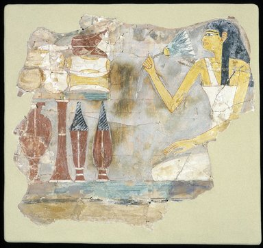 <em>Tomb Painting of a Woman with Offerings</em>, ca. 1539-1425 B.C.E. Limestone, gesso, pigment, 10 1/16 x 11 1/2 x 1/8 in. (25.6 x 29.2 x 0.4 cm). Brooklyn Museum, Charles Edwin Wilbour Fund, 05.390. Creative Commons-BY (Photo: Brooklyn Museum, 05.390_SL1.jpg)