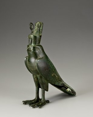 <em>Horus Falcon-Form Coffin</em>, 664-30 B.C.E. Bronze, gold, 11 3/4 x 2 3/4 x 11 1/2 in. (29.8 x 7 x 29.2 cm). Brooklyn Museum, Charles Edwin Wilbour Fund, 05.394. Creative Commons-BY (Photo: Brooklyn Museum (Gavin Ashworth,er), 05.394_Gavin_Ashworth_photograph.jpg)