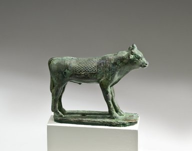 <em>Apis Bull</em>, 664-30 B.C.E. Bronze, 3 3/8 x 1 1/8 x 4 7/16 in. (8.6 x 2.9 x 11.2 cm). Brooklyn Museum, Charles Edwin Wilbour Fund, 05.397. Creative Commons-BY (Photo: Brooklyn Museum (Gavin Ashworth,er), 05.397_Gavin_Ashworth_photograph.jpg)