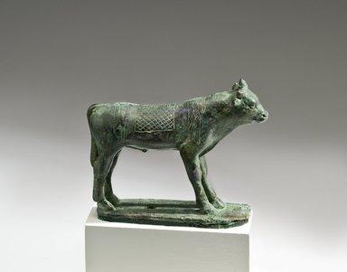 <em>Apis Bull</em>, 664-30 B.C.E. Bronze, 3 3/8 x 1 1/8 x 4 7/16 in. (8.6 x 2.9 x 11.2 cm). Brooklyn Museum, Charles Edwin Wilbour Fund, 05.397. Creative Commons-BY (Photo: Brooklyn Museum (Gavin Ashworth,er), 05.397_Gavin_Ashworth_photograph.jpg)