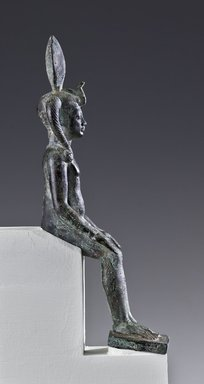 <em>The Child Horus</em>, 305 B.C.E.–1st century C.E. Bronze, silver, 8 x 2 1/16 x 3 9/16 in. (20.3 x 5.2 x 9 cm). Brooklyn Museum, Charles Edwin Wilbour Fund, 05.399. Creative Commons-BY (Photo: Brooklyn Museum (Gavin Ashworth,er), 05.399_profile_Gavin_Ashworth_photograph.jpg)